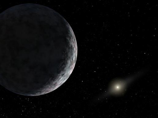 Vue d\'artiste de cette dixième planète, dont le nom définitif doit encore être validé par l\'union astronomique internationale. Elle est très faiblement éclairée par le Soleil, visible en bas à droite de l\'image