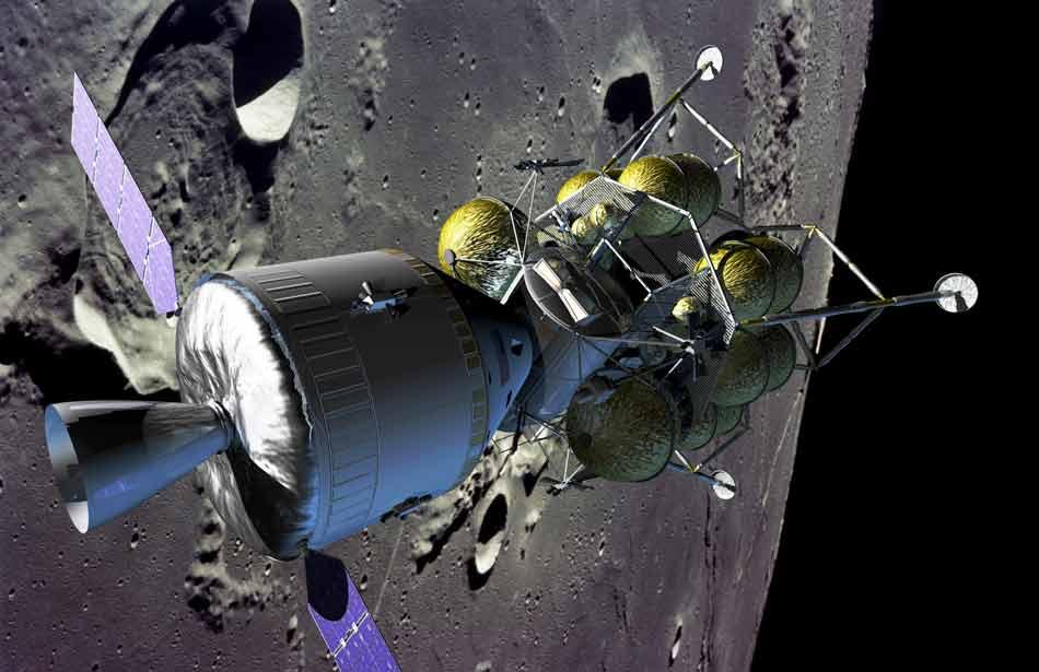 Vue d'artiste du futur attelage spatial qui ramènera les hommes sur la Lune avant 2020. On y voit le véhicule d'exploration, panneaux solaires déployés, arrimé à l'atterrisseur lunaire à bord duquel les astronautes prendront place pour se poser sur la Lune.