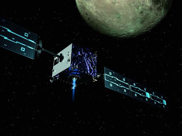 Vue d\'artiste de SMART -1 en orbite lunaire.