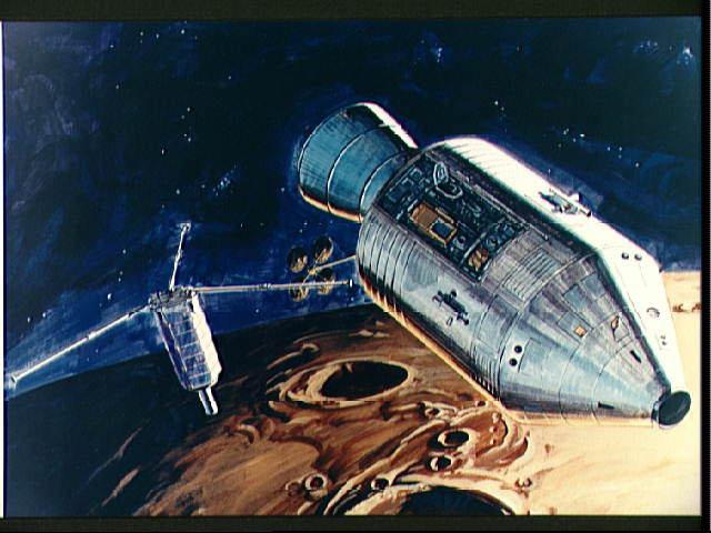 Vue d'artiste d'un largage de sous-satellite à partir d'un module de commande d'Apollo