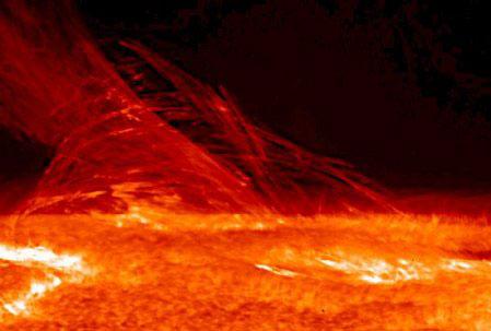 Eruption solaire dans la chromosphère surprise par le satellite japonais Hinode