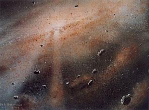 Vue d\'artiste de ce qu\'a pu être la nébuleuse protosolaire qui a donné naissance à notre étoile et à son cortège de planètes