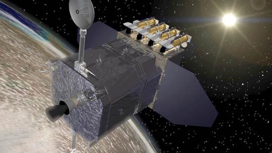 Vue d\'artiste du satellite SDO qui doit s\'envoler avant la fin de l\'année 2009. Equipé avec le dernier cri technologique en matière de capteurs, il arrive à point nommé pour étudier ce minimum solaire tout à fait étrange.