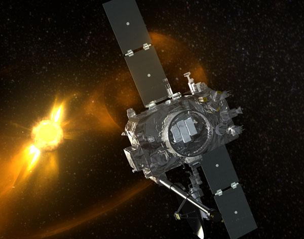 Vue d\'artiste d\'une des sondes STEREO en orbite autour du Soleil