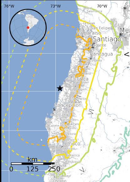 Carte du tremblement de Terre au Chili de février 2010 établie par l\'USGS