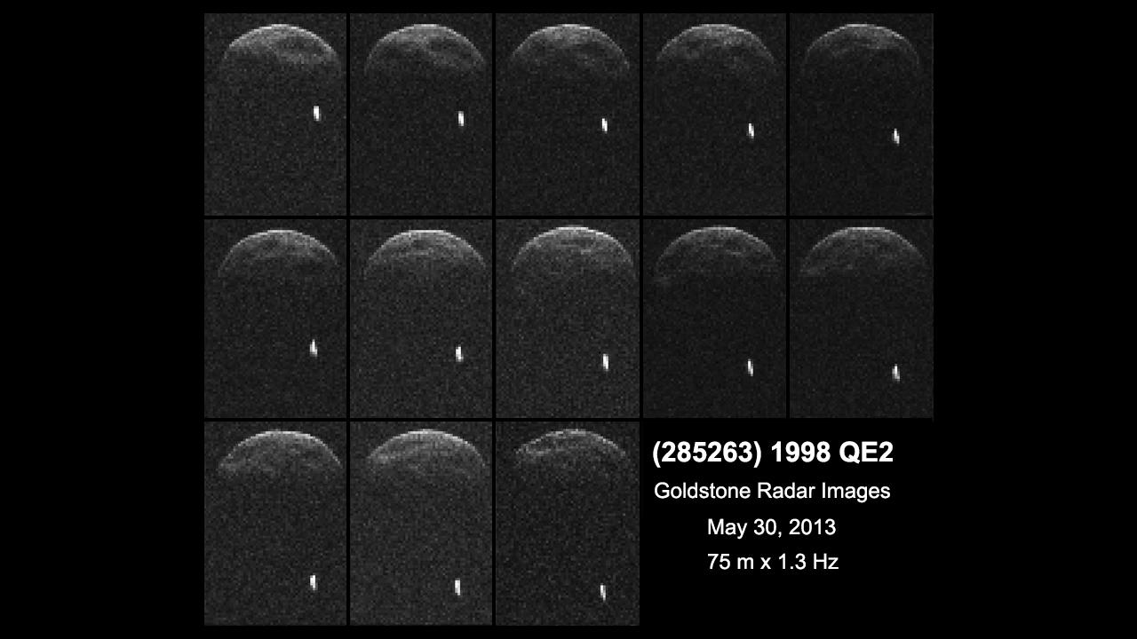 Premières images radar de l\'astéroïde 1998 QE2 obtenues alors qu\'il se trouvait à 6 millions de km de la Terre. La séquence couvre deux heures d\'observation.