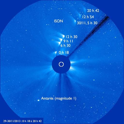 Fin du passage d\'ISON dans le champ du coronographe LASCO C3 de la sonde solaire SOHO.