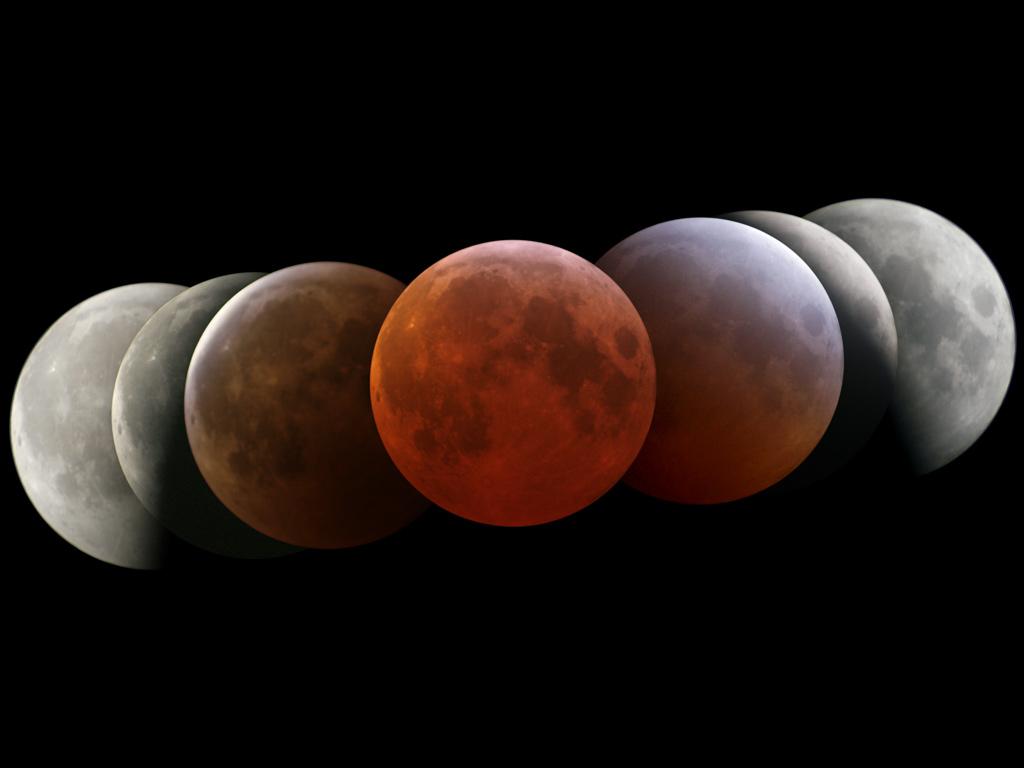 Les différentes phases d\'une éclipse de Lune