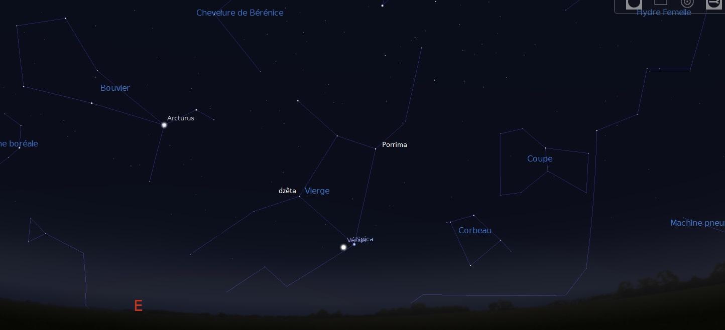 Aspect du ciel vers 6h30 du matin. Les étoiles Porrima et dzêta de la Vierge sont indiquées
