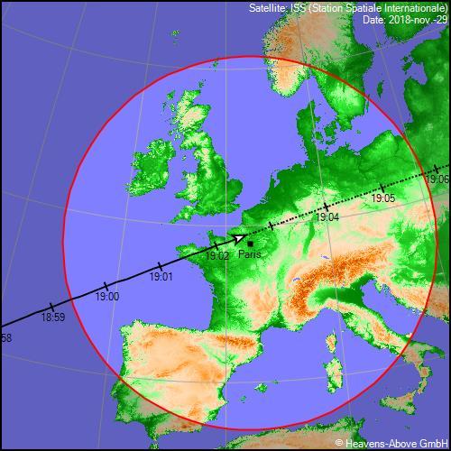 Trace au sol du passage de la Station spatiale internationale du jeudi 29 novembre 2018