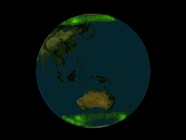 Spectaculaires images d\'aurores polaires symétriques prises par le satellite Polar