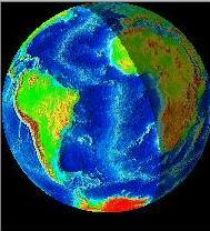 Simulation de l\'image de la Terre vue par la Lune au moment des observations du 20 décembre 2001 au soir