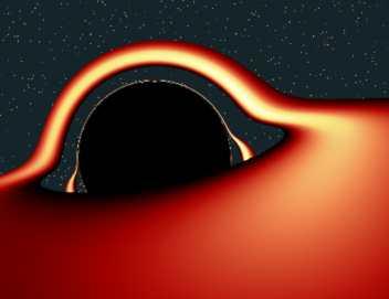 Capable de courber très fortement l'espace et les rayons lumineux qui s'y déplacent du fait de sa terrifiante densité, le spectacle au voisinage d'un trou noir doit être quelque chose d'assez particulier: en effet, s'il projette l'image du dessus du disque de matière qui s'accrète autour de lui vers un observateur situé dans cet exemple au dessus du plan de rotation du disque, il a aussi la faculté de renvoyer celle du dessous! Cette simulation informatique nous donne un aperçu de l'illusion optique qui pourrait alors nous dérouter, au lieu de la belle ellipse attendue dans le cas classique d'un corps sphérique entouré d'un anneau, comme Saturne par exemple