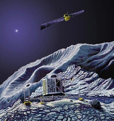 Cette vue d'artiste illustre le clou de la mission Rosetta : l'atterrissage d'un module scientifique à la surface même du noyau de la comète Wirtanen. Pendant ce temps, la sonde tourne en orbite autour du noyau de 1,2 km de diamètre. Les astronomes de l'ESO viennent de vérifier que le lointain Soleil (la tache lumineuse en haut à gauche du dessin) n'entraîne quasiment aucune activité, étant incapable de réchauffer suffisamment la surface de la comète.