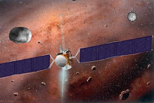 Vesta, la sonde Dawn et Cérès sur fond de nébuleuse protosolaire. Préciser grâce à l'étude de ces gros astéroïdes les conditions qui régnaient au moment de la formation du système solaire,tel est en effet un des objectifs de cette mission