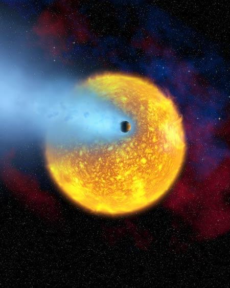 HD 209 458 b perdant son atmosphère au rythme faramineux de 10 000 tonnes par seconde
