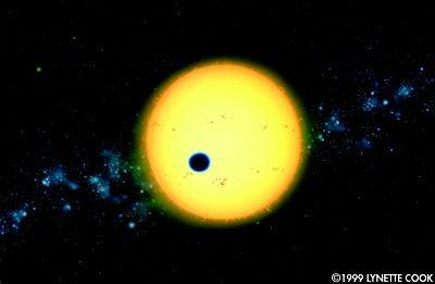 L\'exoplanète HD 209 458 b en transit devant son soleil. Grâce à cette mini-éclipse, les astronomes ont pu analyser la composition de l\'atmosphère de cette exoplanète.