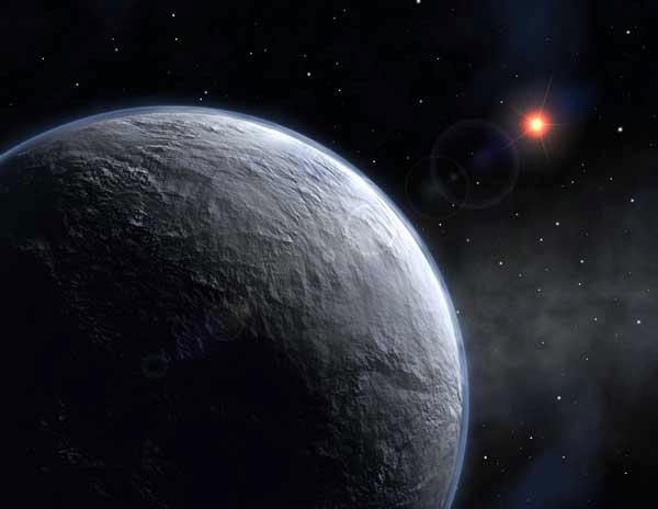 Vue d\'artiste du lointain nouveau monde découvert dans la direction du centre galactique