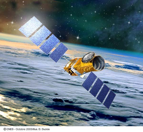 vue d\'artiste de CoRoT en orbite autour de la Terre