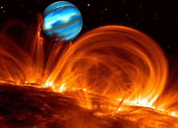 Vue d\'artiste de la planète géante en orbite autour de tau Bootis, à travers les arches magnétiques de l\'étoile