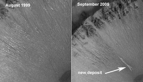 Trace d\'écoulement apparue entre août 1999 et septembre 2005 le long d\'une pente des Centauri Montes, sur Mars