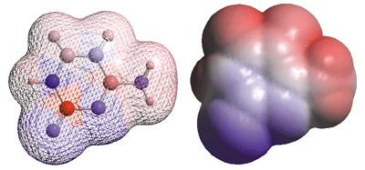 Voici deux représentations graphiques d'une molécule de cytosine, une des quatre briques moléculaires qui constituent la molécule d'ADN à l'origine du vivant. A gauche, on voit les atomes reliés entre eux par des liens chimiques et à droite, sa « surface » telle qu'elle serait vue à l'aide d'un microscope électronique.