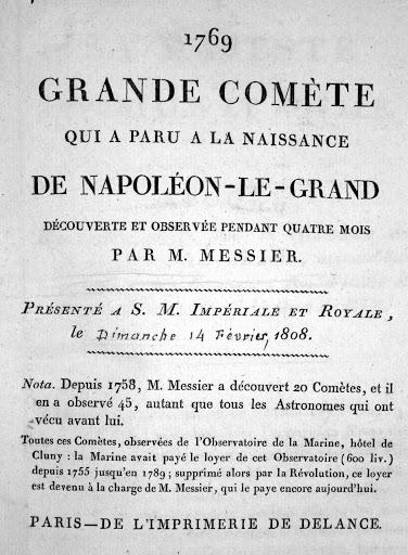 Mémoire de Charles Messier de 1808 tout à la gloire de Napoléon-le-Grand. Admirez la façon non subtile de demander des finances...