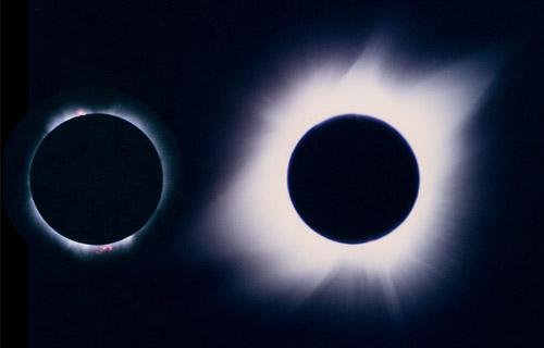Sur cette photo de l'éclipse de Soleil du 11 juillet 1991, la basse (à gauche) et la haute couronne (à droite) sont visibles. Dans la basse couronne, on remarque deux protubérances rouges.
