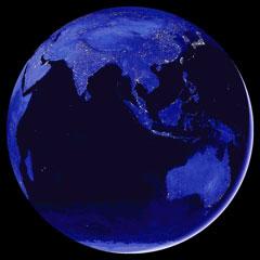 La Terre vue depuis l\'astéroïde 2012 DA14 au moment de sa plus courte approche, quasiment à la verticale de l\'Indonésie