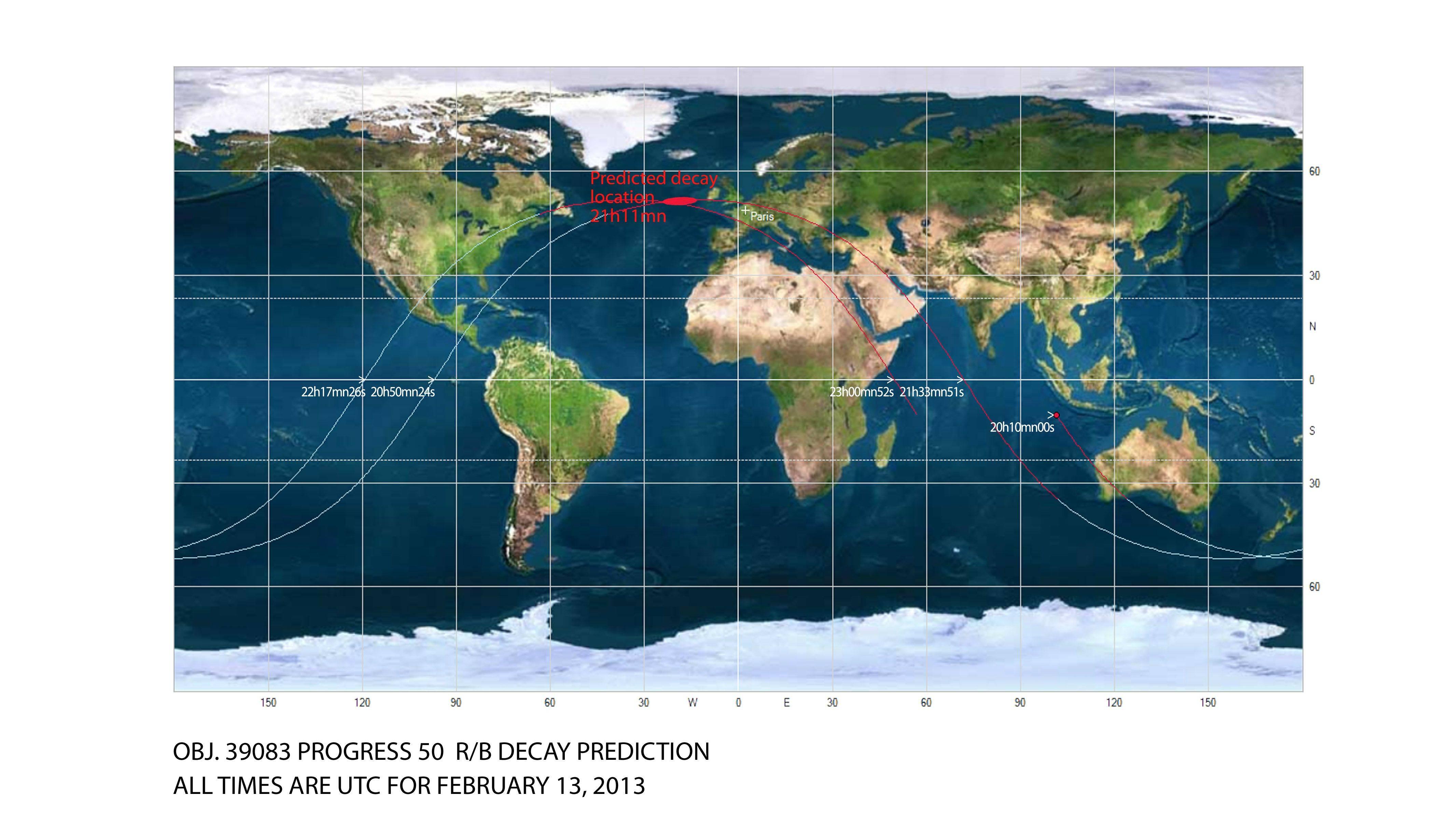 Carte de prévision de rentrée de l\'étage supérieur de lanceur Soyouz observé hier soir.