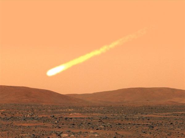 Vue d\'artiste de ce à quoi pourrait ressembler la chute d\'une comète géante sur Mars.