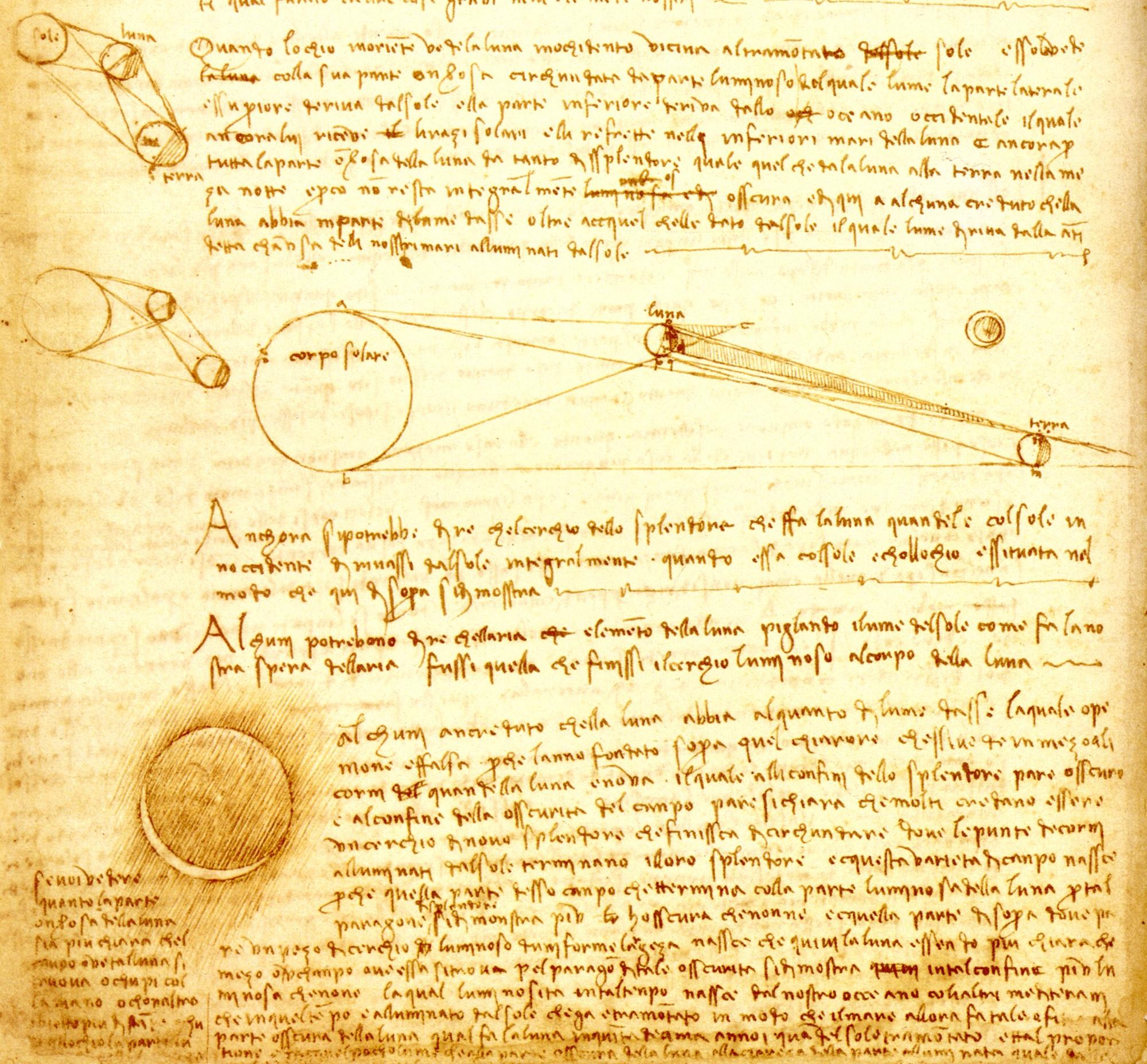Extrait du Codex Leicester dans lequel Léonard de Vinci décrit la lumière cendrée