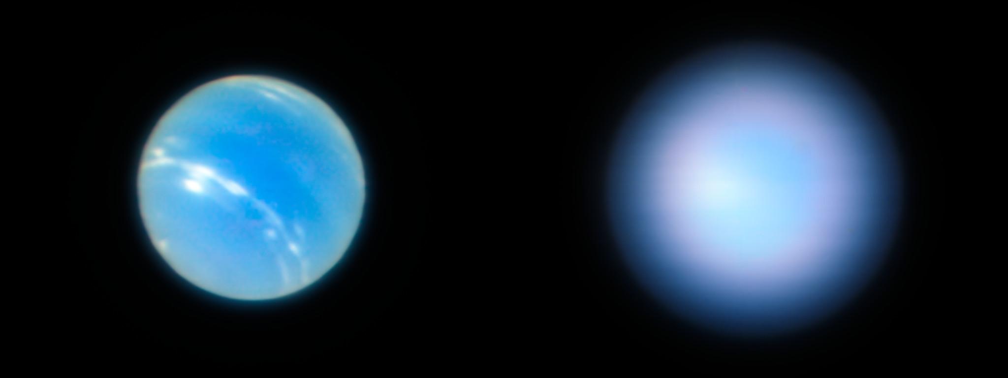 Neptune vue avec et sans optique adaptative, depuis le VLT