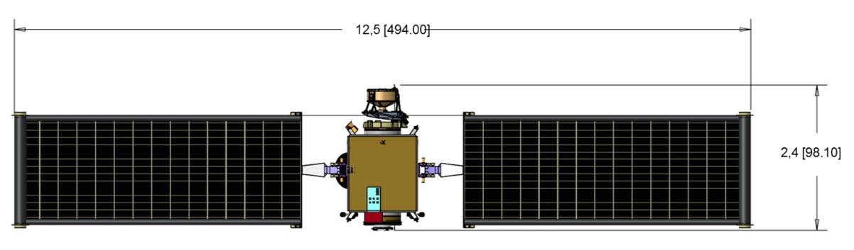 La sonde DART, panneaux solaires déroulés, une envergure de 12,5 mètres